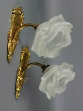 Antique Gilt Bronze French Wall Sconce PAIR Rose Petal Glass Shades 1920s