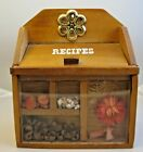 Vtg Wooden Recipe Box Shadowbox Glass Front Seeds Flower Shells Includes Recipes