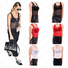Women's Ladies Full Mesh Racer Muscle Back Sleeveless Leotard Bodysuit Top