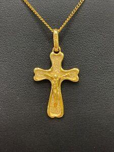 9ct 9k Yellow Gold Crucifix Cross Pendant With Jesus 2.4 Grams. Brand New