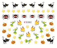 Nail Art 3D Stickers Water Transfers Decals Halloween Spiders Black Cats (E062)