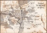 Plan de la Bataille du Pont d'Arcole Napoléon Bonaparte Campagne d'Italie 1837