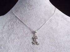Tibetan Silver Frog Pendant, 925 Sterling Silver Snake Chain Necklace.Handmade