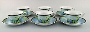 Gianni Versace for Rosenthal. Six Jungle tea cups with saucer in porcelain
