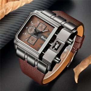 Unique Design Square Men Wristwatches Wide Big Dial Casual Leather Strap watches