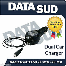 Caricabatteria da Auto MEDIACOM Dual Car Charger (USB,tipo B micro-USB a 5 pin)