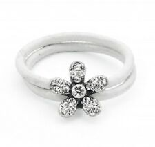 White Leather & Silver Crystal Flower Ring - Size Q