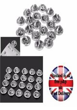 20 Silver Metal Hat Pin badge Backs Tac Lapel Pins Butterfly Clasp Clips
