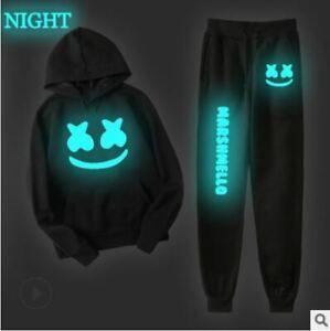 Brushed fleece hoodie Joggers Jogging Fortnite DJ Glow in dark Marshmello man