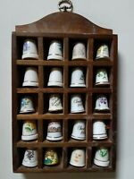 Lot Of 20 flower Thimbles In Wooden Display Case Vintage states Christmas animal