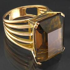 Bold Statement European Solid 14k ROSE GOLD SMOKY QUARTZ COCKTAIL RING Sz M1/2