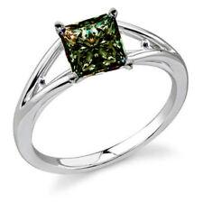 Princess Moissanite Diamond Silver Ring 1.80ct vvs1'/Great Natural Gray Green