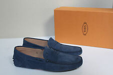 New sz 8.5 US / 7.5 TOD'S Blue Suede Gommini Driving Logo Mocassin Men's Shoes