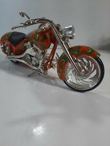 """Large 16"""" Die Cast Hot Rod Orange Motorcycle"""