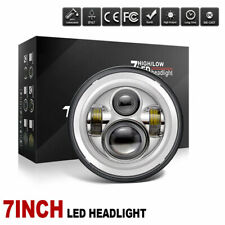 7'' Round LED Half Halo Angel Headlight DRL Light For Jeep Wrangler Harley