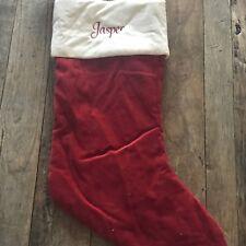 """Pottery Barn Red Velvet 20 x 10"""" Medium Christmas Stocking Monogram Jasper Nwt"""