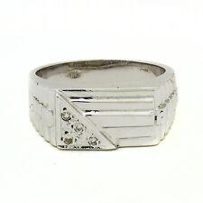 14K White Gold Diamond Mens Ring 0.15ct  Size 10.5