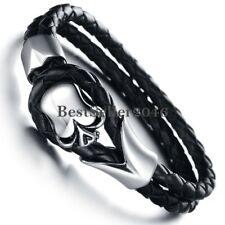 Goth Biker Stainless Steel Mens Skull Bracelet Genuine Braided Leather Wristband