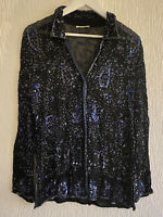 NAVY BLUE SEQUIN SHIRT 16 RIVER ISLAND PARTY SUMMER SPARKLY PRETTY GLAM CHIC HOT