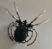 vintage enamel spider brooch