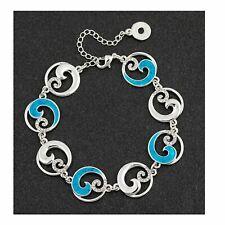 Equilibrium Sea Breeze Wave Circles Design Silver Plated Bracelet