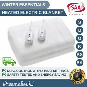 Dreamaker Electric Blanket Extra Soft Fully Fitted Heated Underblanket Winter