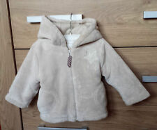 3-6 Month Mamas & Papas Velour Coat Jacket, Beige Star Motif Embroidered on Back