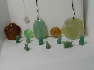 Vintage Oriental Garved Jadeite Jade Bead Lot 14 Pieces