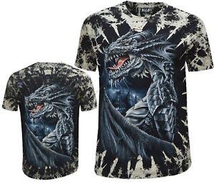 New Mens Dragon Skull Castle Glow In The Dark Tye Dye T - Shirt M - 3XL