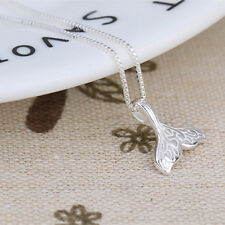 Silver Whale Tail Fish Nautical Charm Mermaid Tail Silver Necklace Jewelry