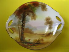 "Nippon Morimura Bros. Hand Painted Handled Bowl Autumn Scene 1911-21""M"" Wreath"