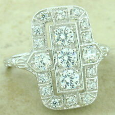 ART DECO 925 STERLING SILVER 1.79 CTTW ANTIQUE STYLE CZ RING SIZE 9,       #1151