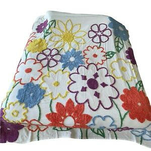 Country Door Bright Floral Multicolor Chenille Bedspread King Size Soft Cotton
