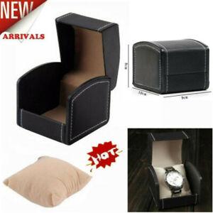PU Leather Watch Display Case Single-Grid w/ Cushion Jewelry Gift Storage Box