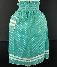 New listing Vtg 1950s Printed Polkadot Turquoise Half Waist Apron Mid Century Fabric Pocket