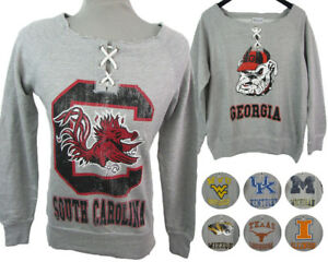 """NCAA Women's Distressed Gray Slouch Neck Pullover Sweater """"Off The Shoulder"""""""