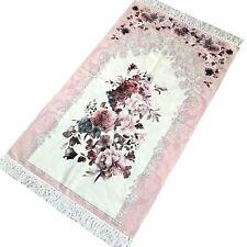 Bazachi Digital Floral Cotton Prayer Rug(Adult)-Large Prayer Mat-125 x 67cm-Pink