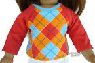 "DISCONTINUED Preppy Argyle T-Shirt Top fits 18"" American Girl Doll Clothes"
