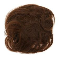 Dark Brown Curly Synthetic Hair Bun Hairpiece Scrunchie Messy Hair Extension