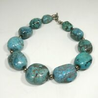 Navajo Indian Graduated  Large Chunky Natural Turquoise Necklace Sterling Silver