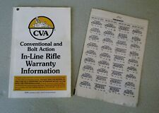 '98 CVA CONNECTICUT VALLEY ARMS CONVENTIONAL & BOLT ACTION IN-LINE RIFLE MANUAL