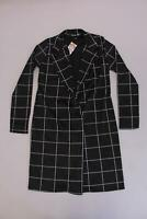 boohoo Women's Tall Grid Check Duster SV3 Black Size US:8 UK:12 NWT
