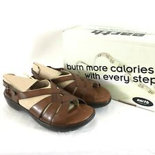 Earth Womens Jolie Slingback Sandal Leather Strappy Buckle Open Toe Brown Size 8