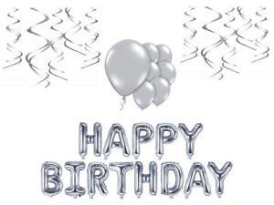 Geburtstags Deko Set silber Folienballon Schriftzug hängende Partydeko
