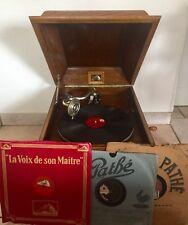 Rare Gramophone Phonographe La Voix De Son Maître Dans Son Coffre En Chêne 1920