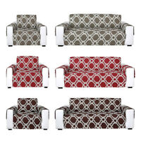 1 2 3 Seater Reversible Quilted Sofa Cover Furniture Protector Throw w/ Strap