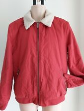 Mens RIVER ISLAND size L SHEEPSKIN style Collared AVIATOR JACKET red FREE POST