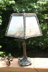 Brass Table Lamp w/ 5 PPM Porcelain Color Lithophanes of Castles & Scenes