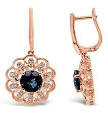 Le Vian ® pendientes-topacio azul, diamantes desnuda - 14K oro Fresa ®