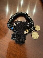 Disney Couture Pirates Black Beaded Coin Stretch Bracelet, Pouch Included, NWOT